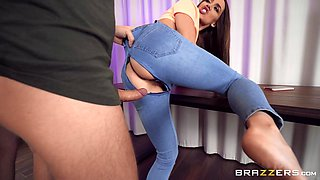 Provocative Luxury Girl gets fucked balls deep thru hole in her jeans
