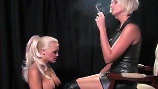 smoking Mistress torments big-titty blonde lesbian slut