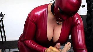 Blond latex slave hard BDSM fetish