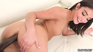 Petite black haired girl plays with bbc