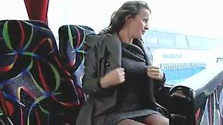 Hot Woman Masturbates in Public Bus