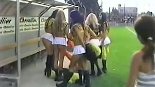 Cheerleader bitches in explicit clothing candid video