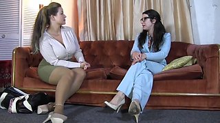 Brutal Lesbian Femdom With Humiliation And Gagging - Brunette Babe In Eyeglasses Tied Up