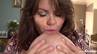 Busty, mature housewife, Milena Velba is playing with her milk jugs and her dripping wet slit
