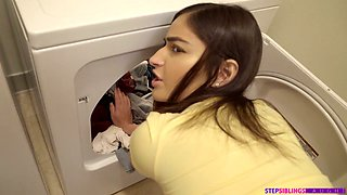 Horny stepbrother fucks sexy stepsister Emily Willis in the laundry and during hot workout