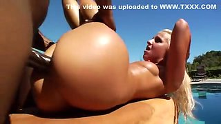 Destiny Jaymes is black banged by the pool