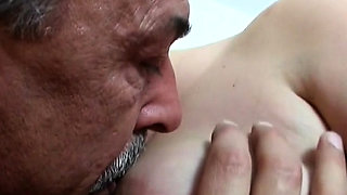 Dishy blonde Gabby with round natural tits explores lever