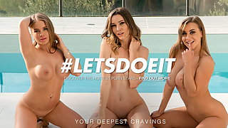 LETSDOEIT Lesbian 3way Pool Party With Hot Josephine Jackson