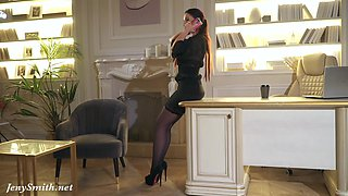 Your Chief: Jeny Smith plays the role of the boss. High heels, stockings and mini skirt.