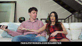 Sister Rides Her Stepbrother While Watching TV