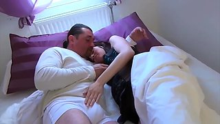 Sensual sex with pregnant brunette in bedroom