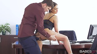 Office secretary gags with the man's cock then fucks hard
