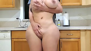 Big ass stepmom fucks her stepson in the kitchen