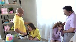 Men punish naughty stepdaughters using their erect fucksticks