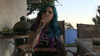 Crazy ideas of nasty emo slut Joanna Angel in hot backstage video