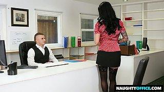 Lusty bosomy secretary Lily Lane stokes and sucks stiff dick of her boss