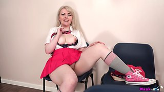 Chubby blonde Danni Marie shows off her big boobies and puffy pussy upskirt