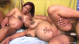 Pregnant ebony slut shares her lover with her mature best friends