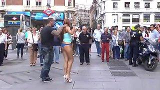 Naked ginger slave led through Madrid