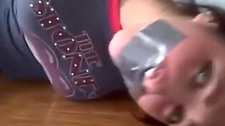 College girl is hogtied barefoot and gagged