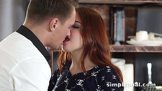 Charming ginger girl Renata Fox gets her anus fucked for the first time
