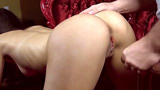 Defloration of fervent sweetie spread cunt and fingering