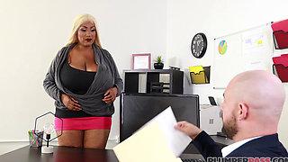 Sexy Busty Ebony MILF (Busty 40M Boobs Cums 2 Fuck N Short Tight Pink Skirt & Heels) 1080p