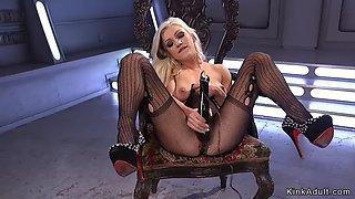 Blonde in fishnet pantyhose fucks machine