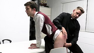 Bishop gives twink anal punishment raw