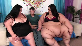 Fat and bulky bbws tease a young guy and make him lick and