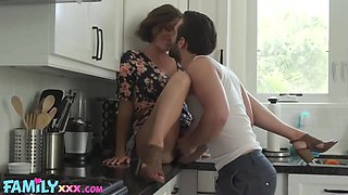 Aroused housewife in a floral dress cant say no to a casual fuck in the kitchen