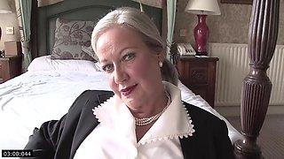 Granny April Undresses And Savorily Jerks Off Her Old Cunt