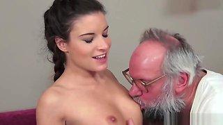 Sexy lady loves hard dick of grandpa