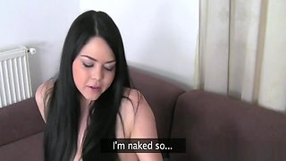 Creampie on sweet babes tits