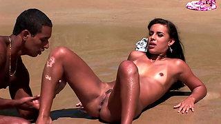 Hard and rough Big Black Cock Sex on Public Beach
