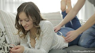 Sensual love making on the bed with Russian teen Adell and her man