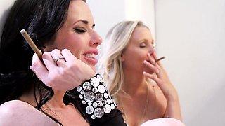 Smoking glam milfs closeup restroom analplay