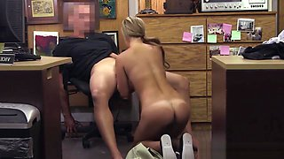 Shop Boss Gives Bucks To Fuck Beautiful Teen Camel-Toe Pussy