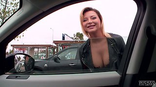 Russian whore Anna Polina flashes her tits outdoor and gets her muff rammed indoor