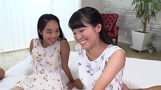 Cute slender Japanese Sisters being kissed and gently fucked