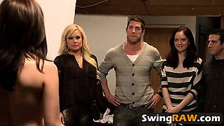 Crazy couples switching partners in amazing swinger foursome