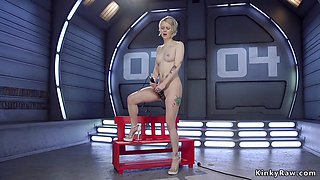 Shaved pussy blonde fucking machine