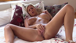 Horny sister strips and plays with her great body