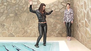 Awesome lesbian action with a milf Pamela Sanchez in a pool