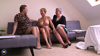 Three busty matures love anal sex