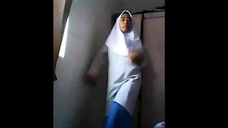 Muslim schoolgirl showing