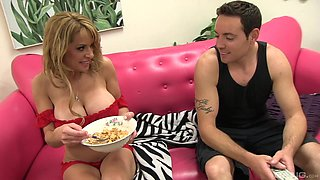 Busty Alyssa Lynn gets talked into jumping on a fat pecker