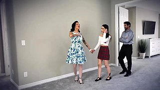 Aria Lee got fucked with strapons and stepdads cock