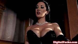 Busty lingerie mistress doggystyled after bj
