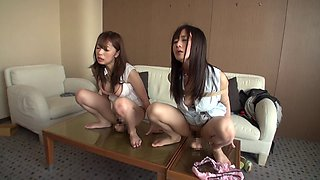 Collared and bound Japanese submissives suck dick in a hotel room